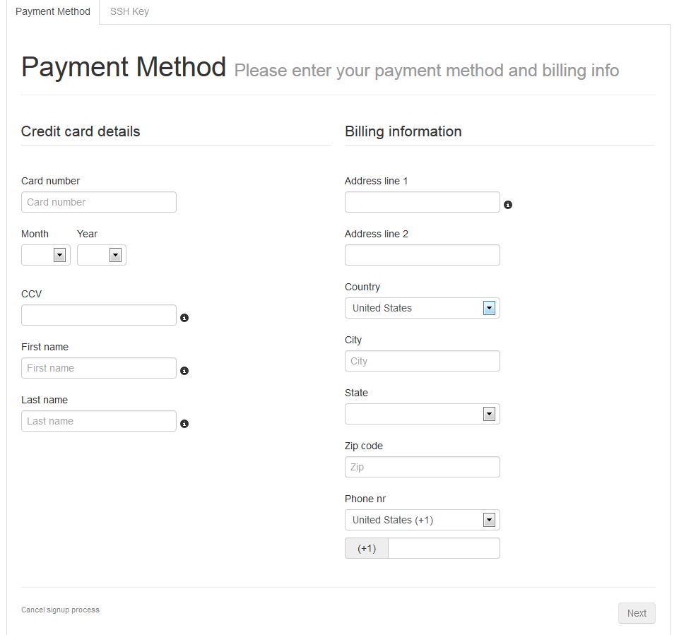 Joyent Billing and Credit Card information